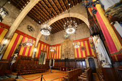 Wnętrze Barcelona urząd miasta, Barcelona, Hiszpania Obraz Royalty Free