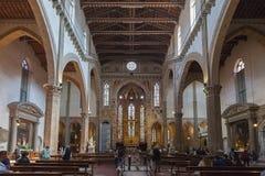 Wnętrze bazylika Santa Croce Święty krzyż w Florencja, Ja Zdjęcie Stock
