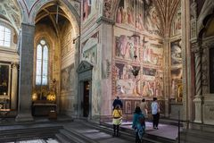 Wnętrze bazylika Santa Croce Święty krzyż w Florencja, Ja Fotografia Stock