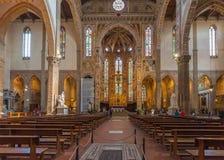 Wnętrze bazylika Santa Croce Święty krzyż w Florencja, Ja Obrazy Stock