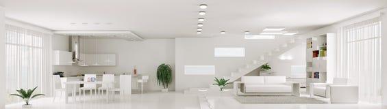 Wnętrze biała mieszkanie panorama 3d odpłaca się Fotografia Stock