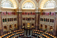 Wnętrze biblioteka kongresu w washington dc, czytelniczy pokój obraz royalty free