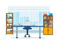 Wnętrze biurowy pokój z miejscem pracy, royalty ilustracja