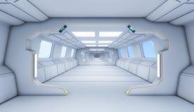 wnętrze, 3 d futurystyczny korytarza ilustracja wektor