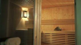 Wnętrze drewniany sauna zdjęcie wideo