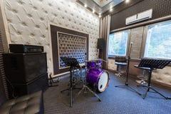 Wnętrze fachowy studio nagrań z musicalem ja Obrazy Stock