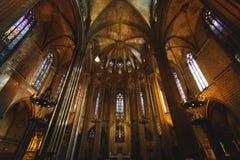 Wnętrze Gocki kościół, Barcelona Zdjęcia Royalty Free
