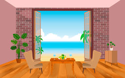 Wnętrze hotel w kurorcie pokój z karłami, stołem i ujściem morze, royalty ilustracja