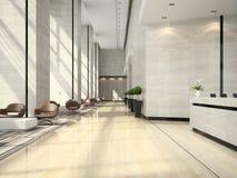 Wnętrze hotelowa przyjęcia 3D ilustracja Zdjęcie Royalty Free