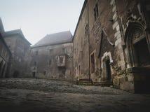 Wnętrze i powierzchowność Hunedoara roszujemy w Rumunia w mgłowych warunkach zdjęcie royalty free