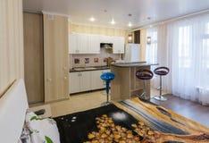 Wnętrze jednoizbowy mieszkanie, widok od łóżka kuchnia i prętowy kontuar, Zdjęcia Stock