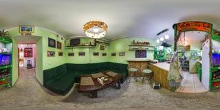 Wnętrze kawiarnia w stylu 3D bańczasta panorama z 360 stopni viewing kątem Przygotowywający dla rzeczywistości wirtualnej w vr Pe Obrazy Royalty Free