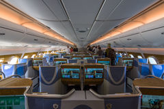 Wnętrze klasa business światu wielki samolot Aerobus A380 Zdjęcia Stock