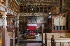 Wnętrze klepka kościół w Bykle Obrazy Stock