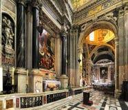 Wnętrze kościół Gesu, Jezus w genui/, Włochy Fotografia Stock