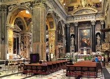 Wnętrze kościół Gesu, Jezus w genui/, Włochy Obrazy Royalty Free
