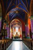 Wnętrze kościół katolicki budujący w fifteenth wieku w Gockim stylu fotografia royalty free