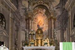 Wnętrze kościół rzymsko-katolicki, lokalizować na Wielkim kwadracie w Sibiu mieście w Rumunia Obraz Stock