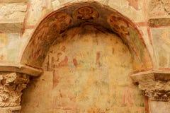 Wnętrze kościół St Nicholas i frescoes indyk obraz stock
