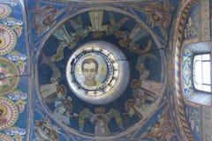 Wnętrze kopuła katedra nasz wybawiciel na rozlewającym krwionośnym świętym Petersburg Rosja Zdjęcie Stock
