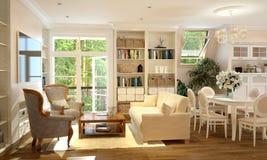 Wnętrze kuchnia i żywy pokój w Provence projektujemy zdjęcie stock