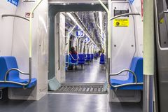 Wnętrze linii 5 bzu pociąg w sao Paulo Obrazy Stock
