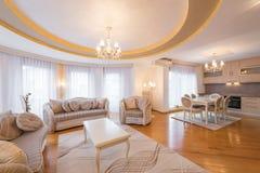 Wnętrze luksus, otwiera plan, mieszkanie, żywy pokój obraz stock