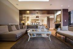 Wnętrze luksusowy żywy pokój Obraz Royalty Free