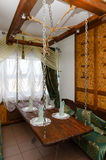 Wnętrze mała sala restauracyjny Santa Maria, Mogilev, Belar Obraz Stock