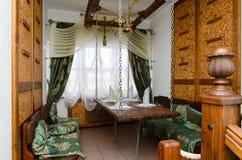 Wnętrze mała sala restauracyjny Santa Maria, Mogilev, Belar Fotografia Stock
