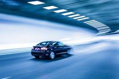 Wnętrze miastowy tunel z samochodem, ruch plama fotografia royalty free