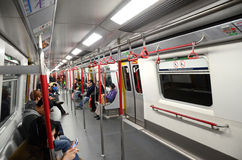 Wnętrze MTR pociąg w Hong Kong Fotografia Stock