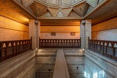 Wnętrze Nilometer budynek, antyczny egipcjanin wody pomiaru przyrząd używać mierzyć poziom rzeczny Nil, Kair, Egipt Obraz Stock