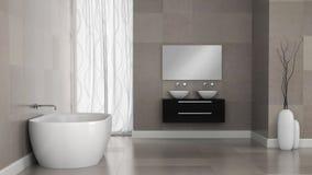 Wnętrze nowożytna łazienka z granit płytki ścianami ilustracja wektor