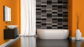 Wnętrze nowożytna łazienka z pomarańcze ścianą ilustracji