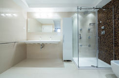 Wnętrze nowożytna łazienka z prysznic kabiną zdjęcia royalty free