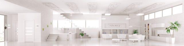 Wnętrze nowożytna biała mieszkanie panorama 3d odpłaca się ilustracji