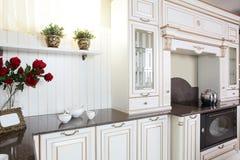 Wnętrze nowożytna europejska kuchnia Zdjęcia Royalty Free