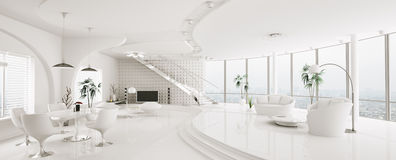 Wnętrze nowożytna mieszkanie panorama 3d odpłaca się Fotografia Stock