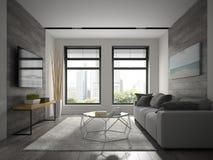 Wnętrze nowożytnego projekta izbowy 3D rendering Fotografia Royalty Free
