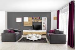 Wnętrze nowożytny żywy pokój w kolorze Zdjęcia Stock