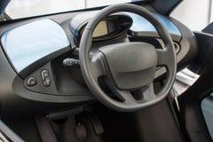 Wnętrze nowożytny elektryczny samochód zdjęcie royalty free