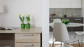 Wnętrze nowożytny mieszkanie w scandinavian stylu z kuchnią i miejscem pracy Ruchu panoramiczny widok zbiory wideo