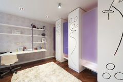 Wnętrze nowożytny pokój z nowożytną szafą Obrazy Stock