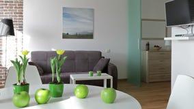Wnętrze nowy nowożytny mieszkanie w scandinavian stylu Ruchu panoramiczny widok zdjęcie wideo