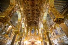 Wnętrze palatyn kaplica, Palermo, Włochy fotografia royalty free
