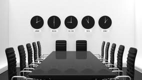 Wnętrze pokój konferencyjny z światowymi zegarami ilustracja wektor