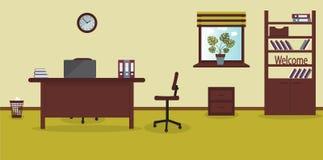 Wnętrze pracujący miejsce w biurze na lekkim wapna tle również zwrócić corel ilustracji wektora Meble: stół, krzesło, gabinet z ilustracji