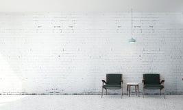 Wnętrze projekt minimalny żywy pokój i ściana z cegieł Obrazy Royalty Free