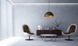 Wnętrze projekt minimalny żywy pokój i betonowa ściana Obraz Royalty Free